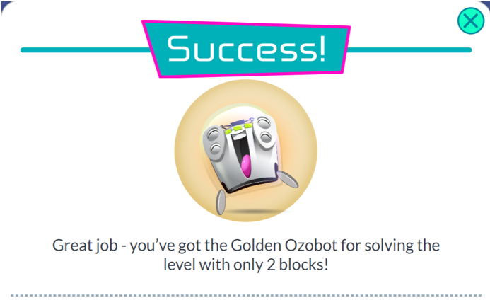 success message for correct program in ozobot shape tracer game