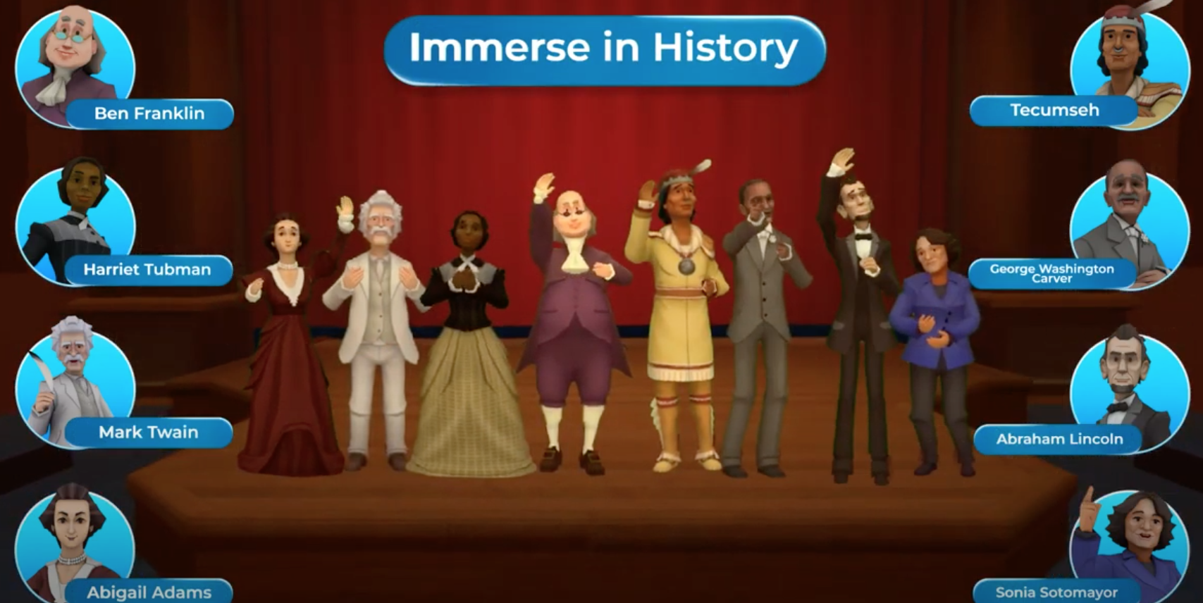historymaker vr lesson interface with historical figures