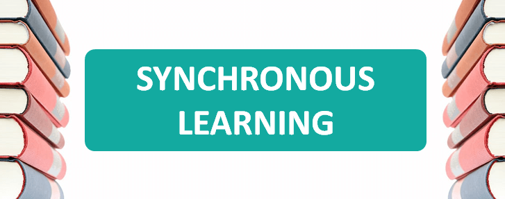 images of books and the words synchronous learning